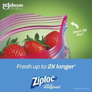 $5.02(原价$11)Ziploc 易拉塑封标签袋 中号5只 保鲜食物微波炉看使用