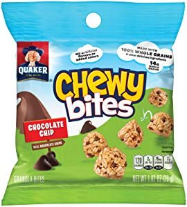 $8Quaker Chewy Bites, Chocolate Chip, Granola Snacks, 1 oz, 16 Bags