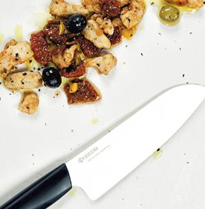 $26Kyocera Advanced Ceramic Revolution Series 5-1/2-inch Santoku Knife, Black Handle, White Blade