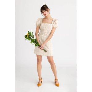 Anisa 奶油色格纹连衣裙
