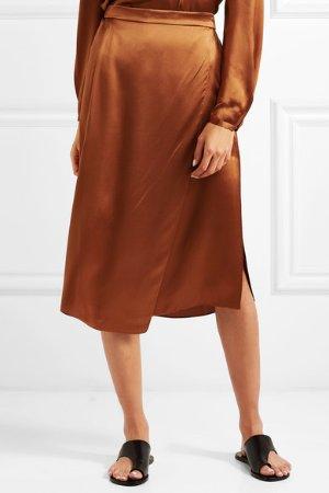 Vince   Asymmetric wrap-effect silk-satin skirt   NET-A-PORTER.COM
