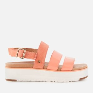 UGG桃粉色厚底凉鞋