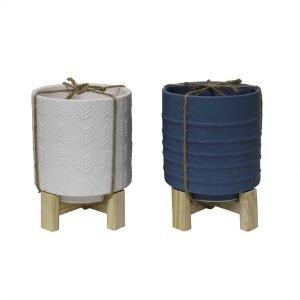 2pk Large Ceramic Planters Blue/White - Bullseye's Playground™ : Target