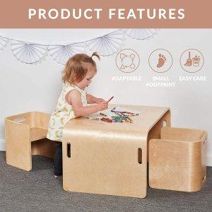 $169.99(原价$239.15)创意产品:ECR4Kids 天然环保 多功能 儿童曲木桌椅 3件套