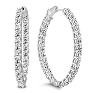 Szul5 Carat TW Oval Diamond Hoop Earrings with Push Button Locks in 14K White Gold