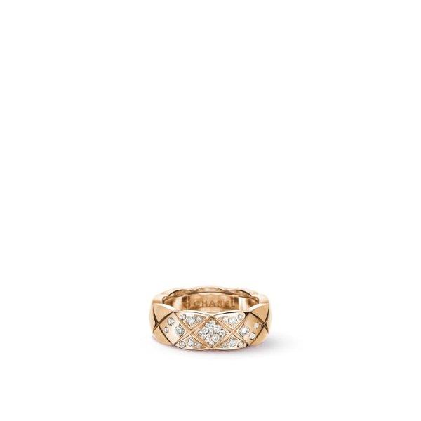 18K米色金+钻石 窄版戒指
