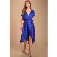 宝蓝色超贵气系带连衣裙