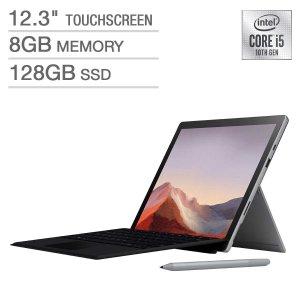 $699.99 含专用触控笔 包邮Microsoft Surface Pro 7 + Type Cover 套装 (i5, 8GB, 128GB)