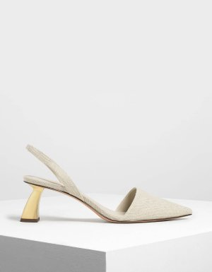 Taupe Linen Sculptural Heel Slingback Pumps | CHARLES & KEITH US