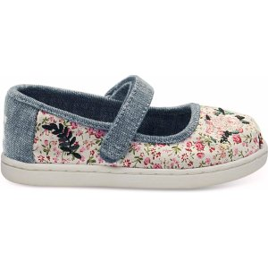 TomsMulti Pink Floral Tiny TOMS Mary Jane Flat