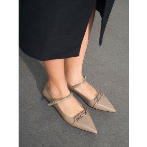 Charles & Keith尖头平底玛丽珍鞋