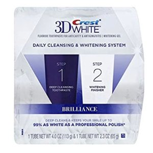 Crest 3D White Brilliance + Whitening Two-step Toothpaste, 4.0 oz and 2.3 oz