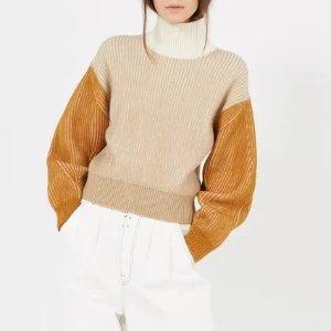 Kenzo5折拼色高领羊毛毛衣