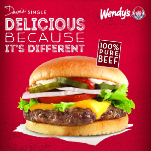 1月21日截止Wendy's 请你免费吃 Dave's Single Cheeseburger