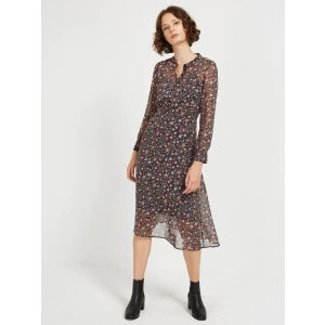 Folk Printed Midi Length Dress in Navy