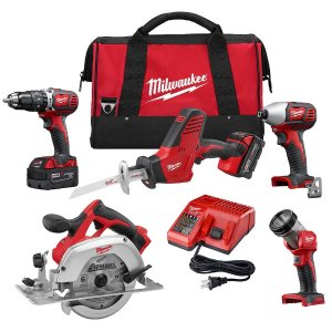 MilwaukeeMilwaukee M18 18-Volt Lithium-Ion Cordless Combo Tool Kit (5-Tool) with Two 3.0Ah Batteries, One Charger, One Tool Bag-2695-25P - The Home Depot