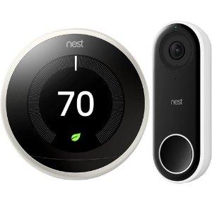 NestGoogle Nest Learning Smart Thermostat 3rd Gen White T3017US + Hello Video Doorbell