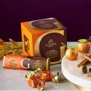 低至$9.95 感受秋季的独特甜蜜GODIVA 秋季限量款南瓜、焦糖、枫糖果仁夹心巧克力礼盒