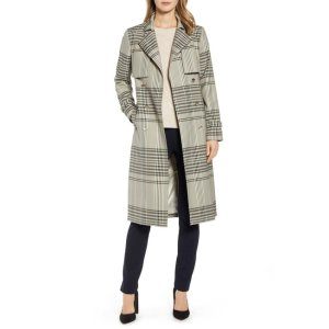 TED BAKER LONDONBuckle Cuff Check Trench Coat