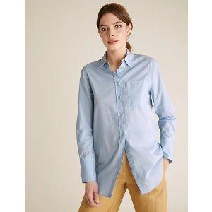 100%纯棉!蓝色纯棉衬衫