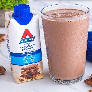 $11.15 每瓶$0.92Atkins 高蛋白即饮巧克力奶昔 12瓶
