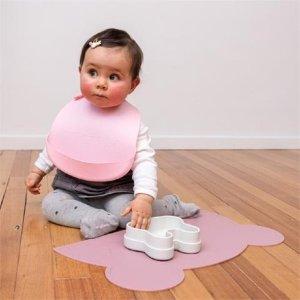 脏粉色&嫩粉色硅胶围兜 2只