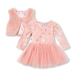 9cfa6395d The Children's PlaceBaby Girls Long Sleeve Foil Dot Print Velour Tutu Dress  And Faux Fur Vest. $19.98 $39.95. The Children's Place Baby ...