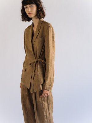 LINEN BLAZER WITH SIDE TIE - DARK BEIGE  —  MIJEONG PARK - LA based womenswear label