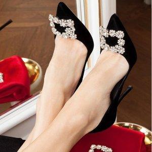 低至6折 经典方扣鞋$400+最后一天:Roger Vivier美鞋好价热卖 收经典花朵缎面钻扣鞋
