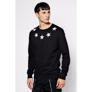Star Print Sweater - boohooMAN