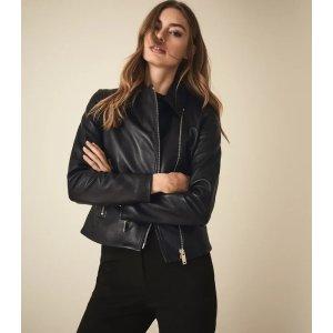 ReissBlair Black Leather Biker Jacket – REISS