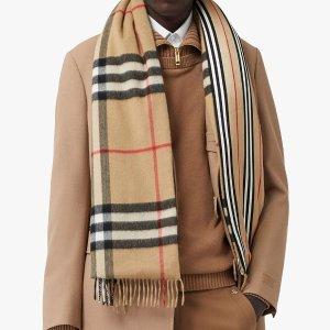 Burberry6折,100%羊绒复古格纹绗缝围巾