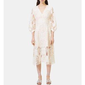 Maje白色刺绣连衣裙