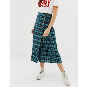 ASOSGlamorous midi skirt with pleated side in check | ASOS