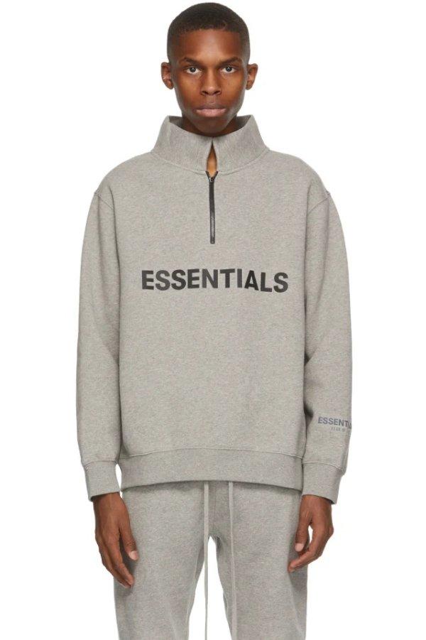 Grey 半拉链polo领毛衣