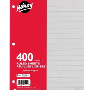 $1.69 (原价$4.15 )Hilroy 3孔活页纸150张  写字画画随便用 在家学习少不了