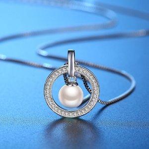 $21.87(原价$149.61)母亲节好礼!J.Rosée  珍珠吊坠925纯银项链