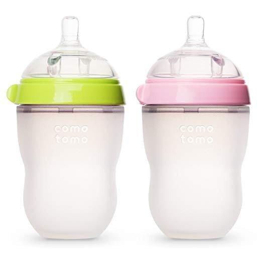 防胀气硅胶奶瓶8盎司,2个,粉/绿色