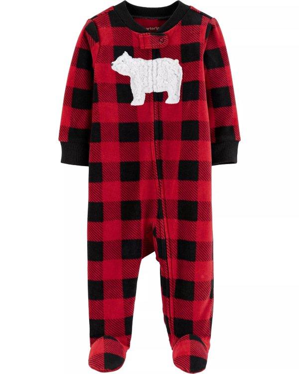 婴儿北极熊格纹抓绒连体衣