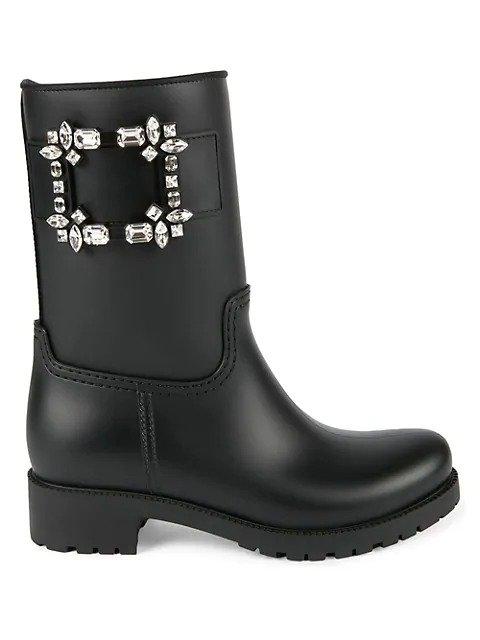 钻扣直筒雨靴