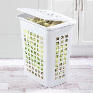 $17.52Sterilite 方形带盖子洗衣篮 白色 4个