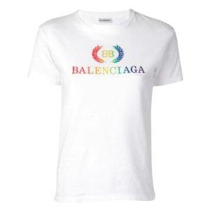 Balenciaga白色彩虹logoT恤