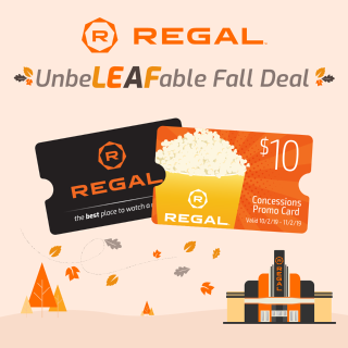 Free $10 When Buy $50Regal Theater End of Summer BOGO Sale
