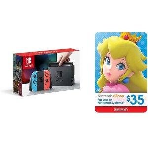 $299 送$35 eShop礼卡Nintendo Switch 红蓝版 / 灰色版 套装