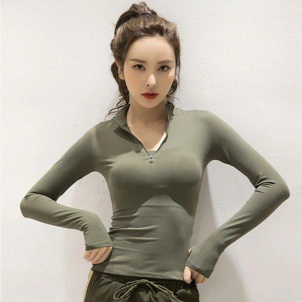 运动上衣女薄款性感紧身健身衣 吸汗透气长袖