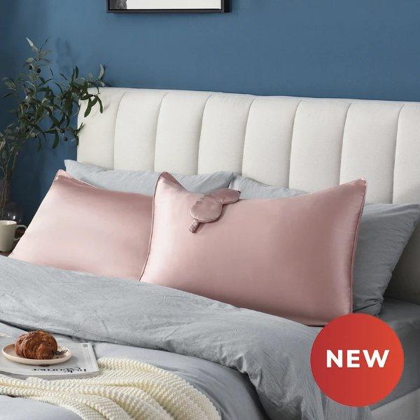 真丝枕套粉色Queen+眼罩粉色