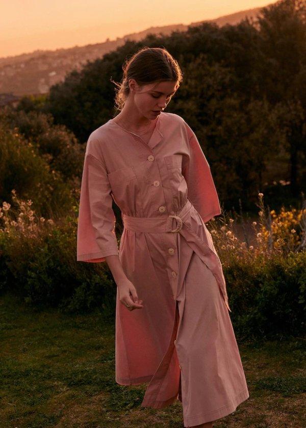 温柔粉衬衫裙