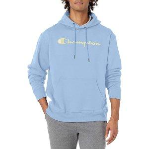$37.35(官网原价$66.15)Champion Powerblend 男士奶油蓝连帽卫衣 经典logo印花