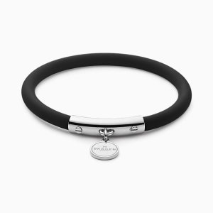 SkagenBlakely Black Silicone and Silver-Tone Bracelet
