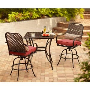 Hampton Bay Fall River 3 Piece Metal Outdoor Bar Height Dining Set With  Unfinished Cushions